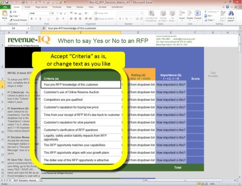 Setup - Criteria: RFP Decision Tool