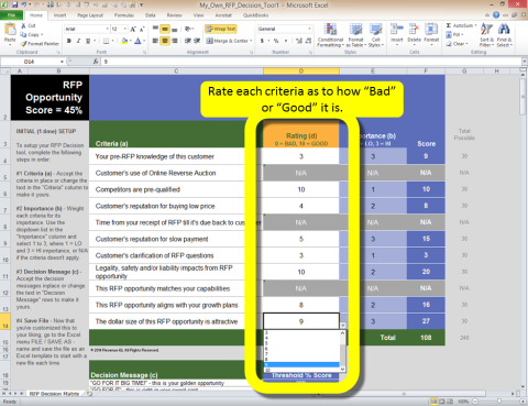How to Use - Rating: RFP Decision Tool
